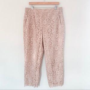 J. CREW | Blush Pink Lace East Pants Sz 14 Tall
